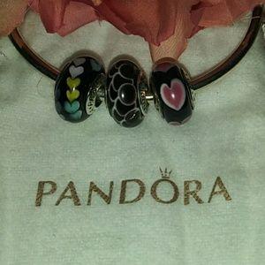 """Pandora Set of 3 """"❤️"""" Murano Beads"""
